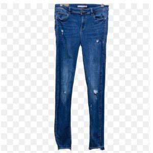 Zara Trafaluc Distressed Skinny Raw Hem Jeans Sz 8